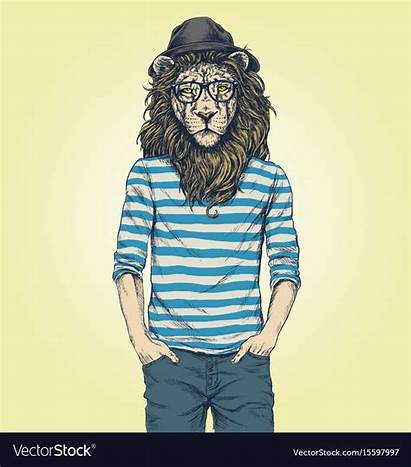 Hipster Lion Vectorstock
