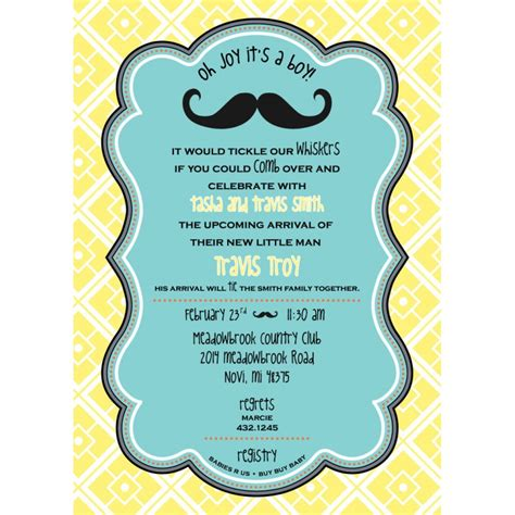 man mustache baby shower printable invitation