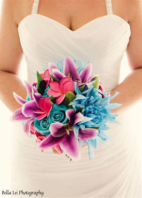 artificial wedding bridal bouquet colourful bright beach