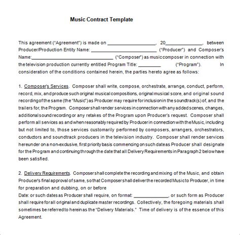 16+ Music Contract Templates  Free Word, Pdf Documents