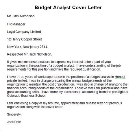sle budget analyst cover letter budget analyst cover