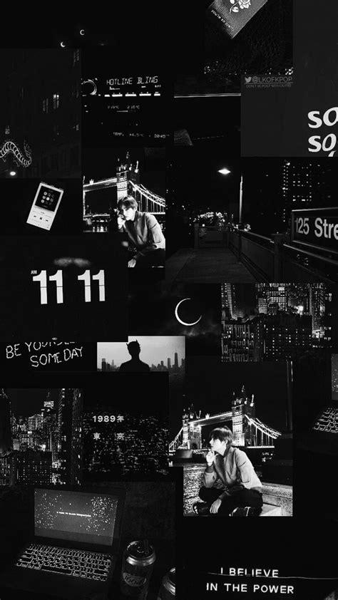 black aesthetic collage wallpaper
