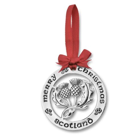 silver plated christmas decoration scottish thistle