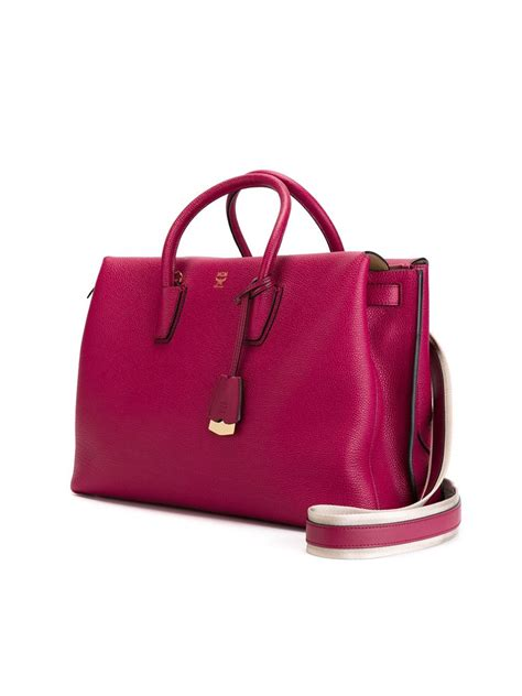 mcm milla small pink db pink lyst mcm large milla tote in pink