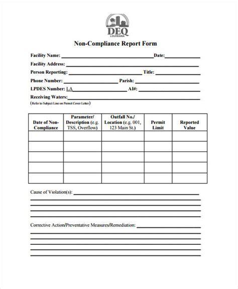 non compliance form template 12 compliance report templates free premium templates