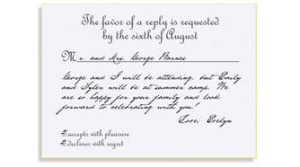 rsvp wedding cards rsvp etiquette traditional favor accepts regrets placement 2 filled out