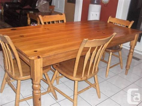 ethan allen pine harvest table and 4 chairs for sale in