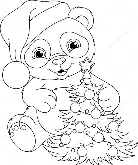 Dierenmasker Kleurplaat Panda by Panda Kerst Kleurplaat Stockvector 169 Malyaka 104980138