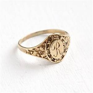 antique art deco monogrammed r 10k yellow gold ring With letter rings jewelry