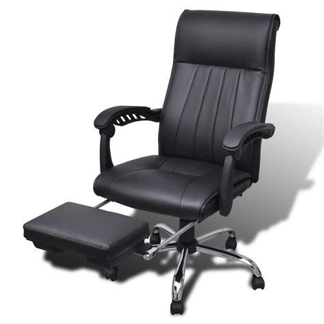 la boutique en ligne fauteuil de bureau noir en simili cuir avec repose pieds r 233 glable vidaxl fr