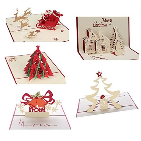 3D Christmas Cards Pop Up Greeting Holiday Cards Gifts for