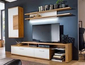 Tv Möbel Weiß : wohnwand wei crack eiche 3 teilig medienwand tv wand tv m bel wohnm bel nina 22 ebay ~ Buech-reservation.com Haus und Dekorationen