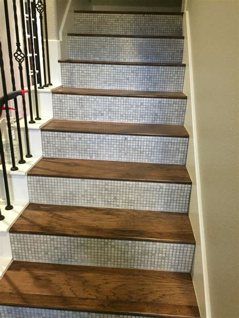 Tile Stair Risers  Hickory Steps Home Tile Stairs