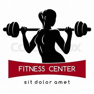 Fitness center or Gym emblem. Elegant woman silhouette ...