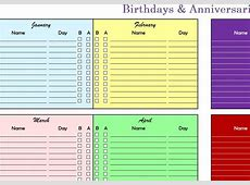Birthdays & Anniversaries Chart My Excel Templates