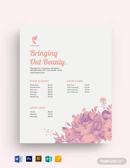 beauty salon price list template word psd apple