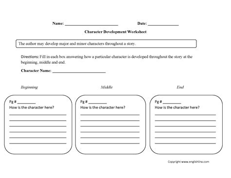 Englishlinxcom  Character Analysis Worksheets