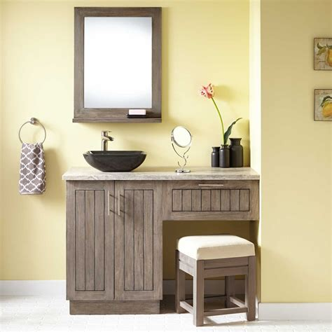 montara teak vessel sink vanity  makeup area