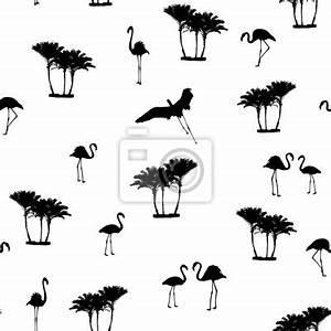 Flamingo Schwarz Weiß : exotische flamingo v gel und tropische palmen schwarz wei konturzeichnung fototapete ~ Eleganceandgraceweddings.com Haus und Dekorationen