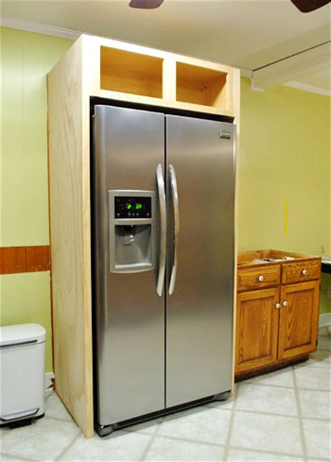 kitchen cabinets refrigerator surround how to build in your fridge with a cabinet on top 6353