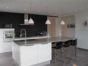 cuisine and ps on pinterest With salle À manger contemporaine avec cuisine carrelage gris anthracite