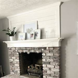 Brick, Fireplace, Makeover, With, Shiplap, And, Whitewash