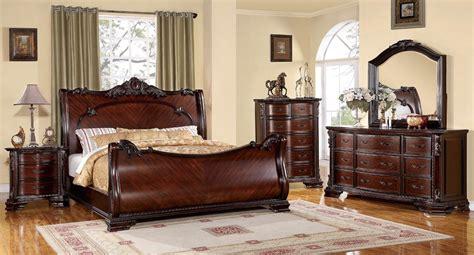 Cherry Wood Bedroom Set by Bellefonte Baroque Brown Cherry Sleigh Bedroom Set With