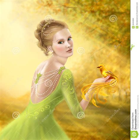 beautiful romantic woman  fantasy gold bird stock