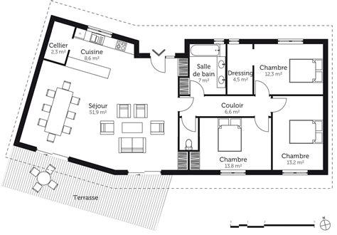 Plan Maison Avec Appartement Plan Maison En V Avec 3 Chambres Ooreka