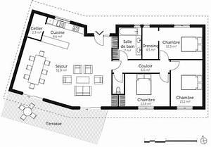 plan maison en v avec 3 chambres ooreka With plan maison une chambre