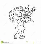 Cartoon Coloring Violin Playing Outline Instruments Della Pagina Profilo Fumetto Coloritura Ragazza Fiddler Coloriage Violino Dessin Fille Gioca Che Musical sketch template