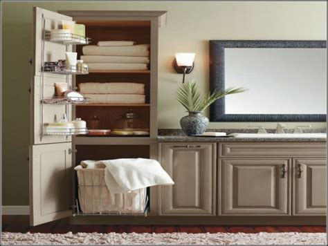 Linen Cabinet With Built In Hamper   Cabinet : Home