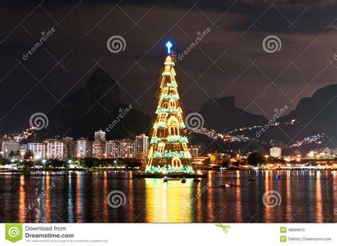 christmas tree structure in rio de janeiro stock photo