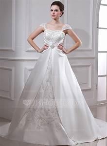 ball gown square neckline court train satin organza With court wedding dress