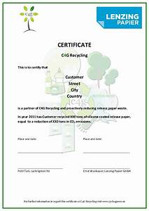 release paper liners recycling cycle4green With certificate of disposal template