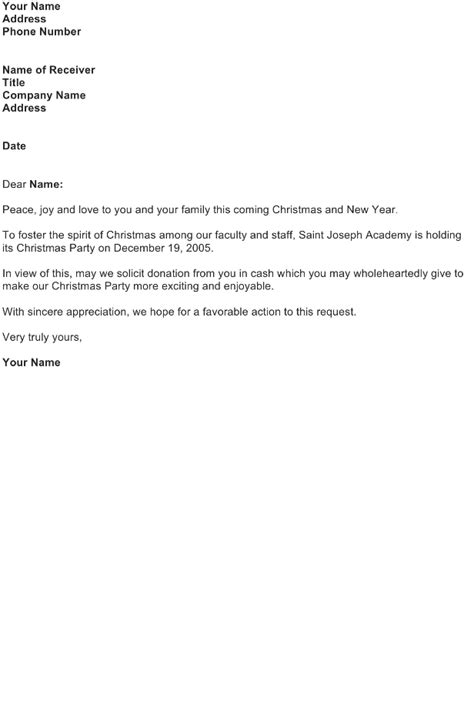 christmas donation request solicitation letter donation
