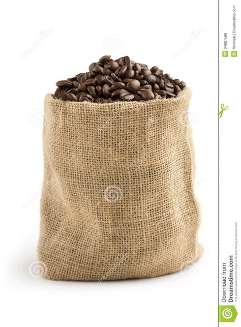 Coffee beans in a jute bag stock photo. Image of burlap   34627588