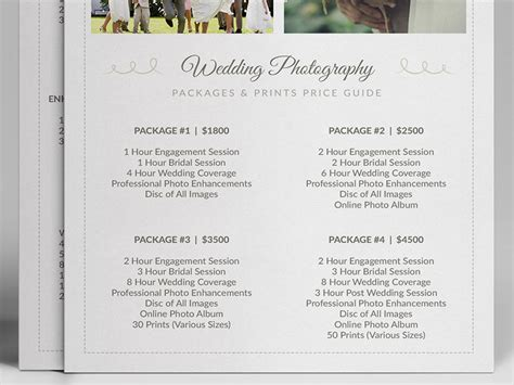 wedding photographer pricing guide price sheet list