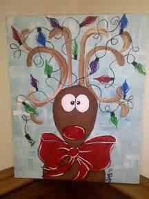 Christmas Reindeer Acrylic Paintings On Canvas