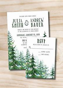 watercolor pine tree wedding invitation and response With wedding invitations with pine trees