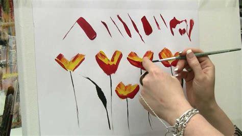 acrylmalen malen lernen uebungen zur mohnblume acrylic
