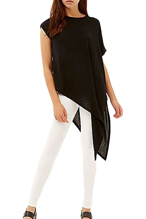 Slit Side Sleeve T Shirt asymmetric sleeve one side slit top womens