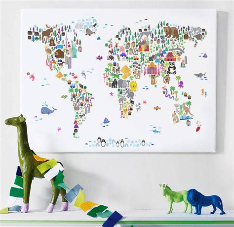 Animal World Map Wallpaper - animal world map print by artpause notonthehighstreet