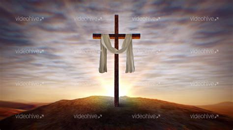 christian cross  waving white cloth  sunset loop