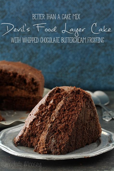 devils food layer cake  whipped chocolate buttercream