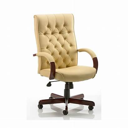 Office Chair Executive Cream Chesterfield Button Leather