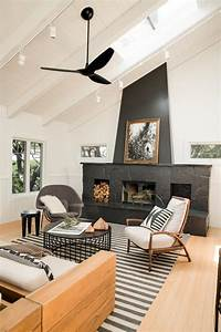 Black, Fireplace, Is, Focal, Point, In, Black, And, White, Living, Room