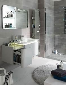 10 astuces pour amenager une petite salle de bains With salle de bain design avec petit meuble salle de bain castorama