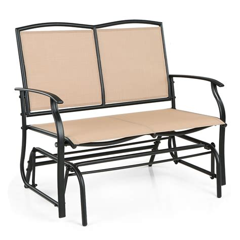 beige ikayaa 2 person patio swing glider bench chair