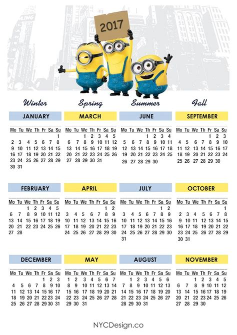 printable  calendar calendar  minions